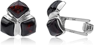 Cherry Amber Sterling Silver Cube Cufflinks