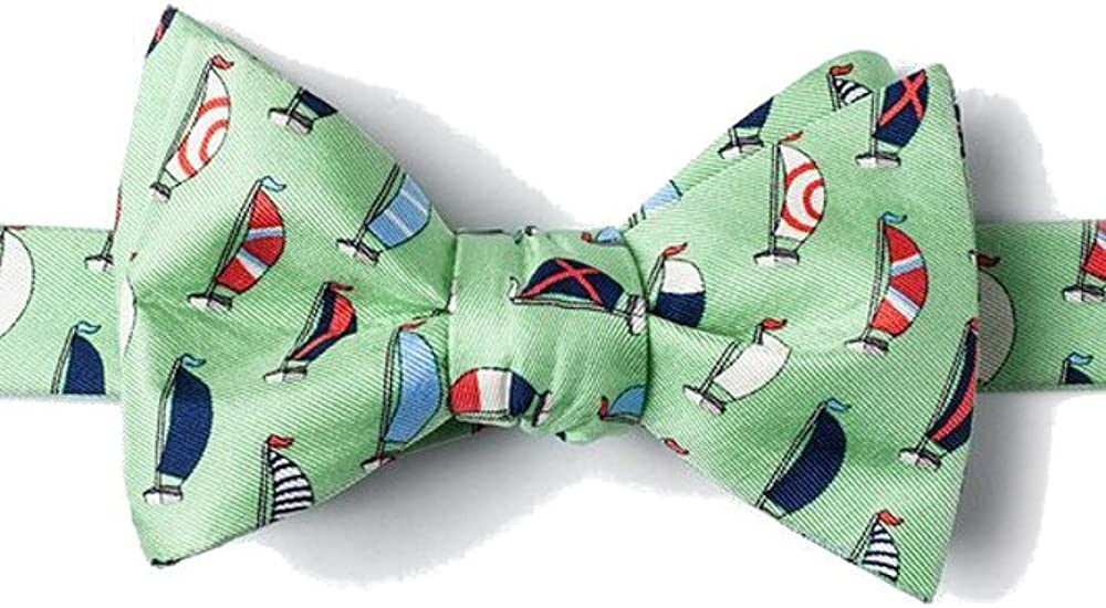 Mens 100% Silk Mint Green Sea the Day Nautical Sailboats Butterfly Bow Tie