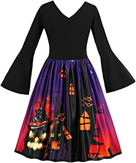 Long Sleeve Vintage Pumpkins Halloween Evening Prom Costume Swing Dress
