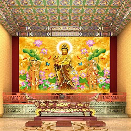 YIERLIFE Wandbild 3D Wandtattoo Aufkleber - Goldene Buddha-Statue im buddhistischen Tempel - Fototapete 3D Effekt Wandbild Tapete Deko Wohnzimmer Tapeten Deko Schlafzimmer Wandbilder Wanddeko