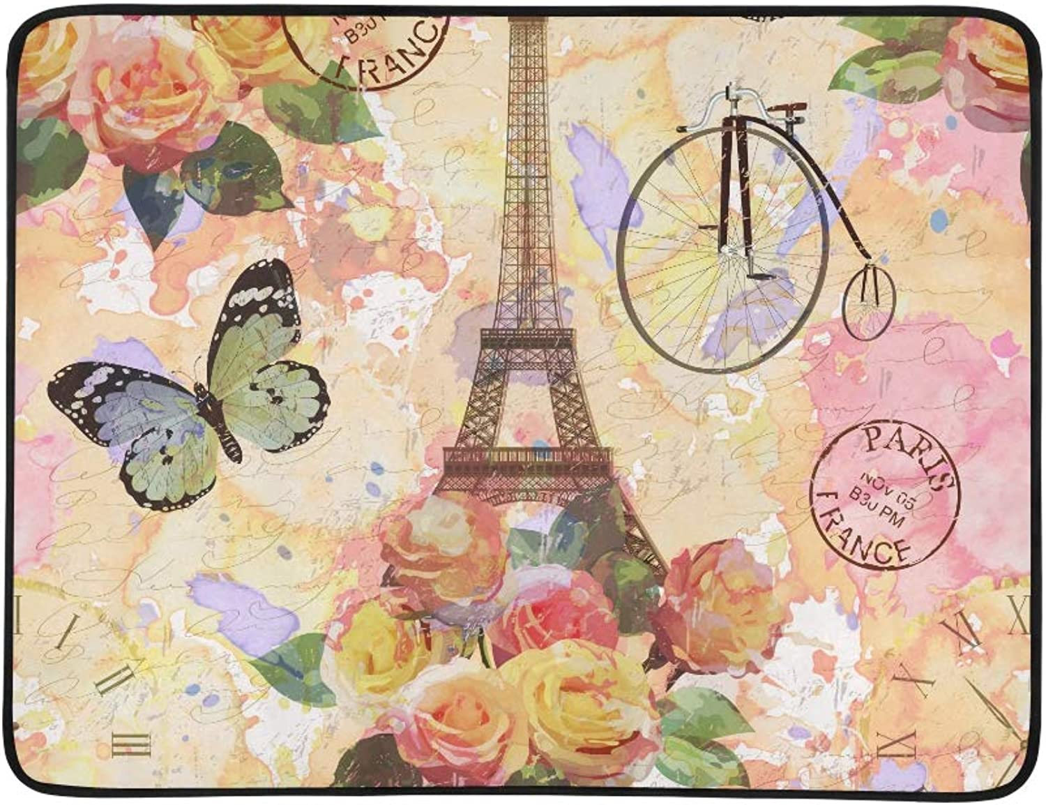 Vintage pink Blossom Paris Eiffel Tower Pattern Portable and Foldable Blanket Mat 60x78 Inch Handy Mat for Camping Picnic Beach Indoor Outdoor Travel
