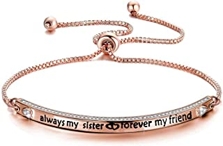 Best Friend Jewelry Sister Gift Always My Sister Forever My Friend Bracelet Fashion Jewelry Gifts for Best Friend Ladies Honey