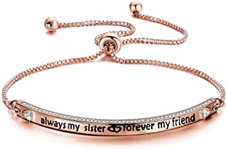 Zuo Bao Best Friend Jewelry Sister Gift Always My Sister Forever My Friend Bracelet Fashion Jewelry Gifts for Best Friend Ladies Honey