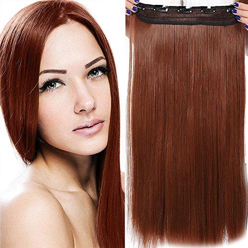 Clip in Extensions wie Echthaar Kastanienbraun Haarverlängerung Haarteil hitzebeständig Glatt 1 Tresse 5 Clips 23