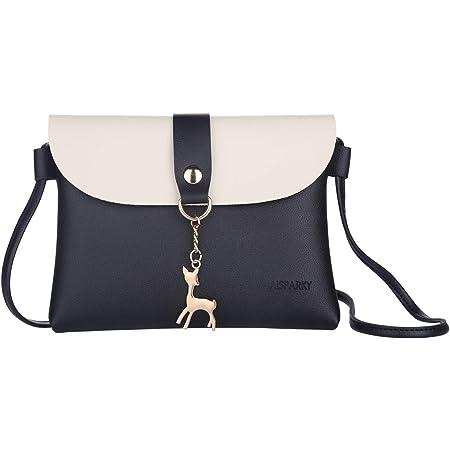 AISPARKY Kleine Tasche Umhängetasche für Damen Frauen,Crossbody Bag Mode Leder Schultertasche Kette Schulterriemen für Mädchen (Schwarz)