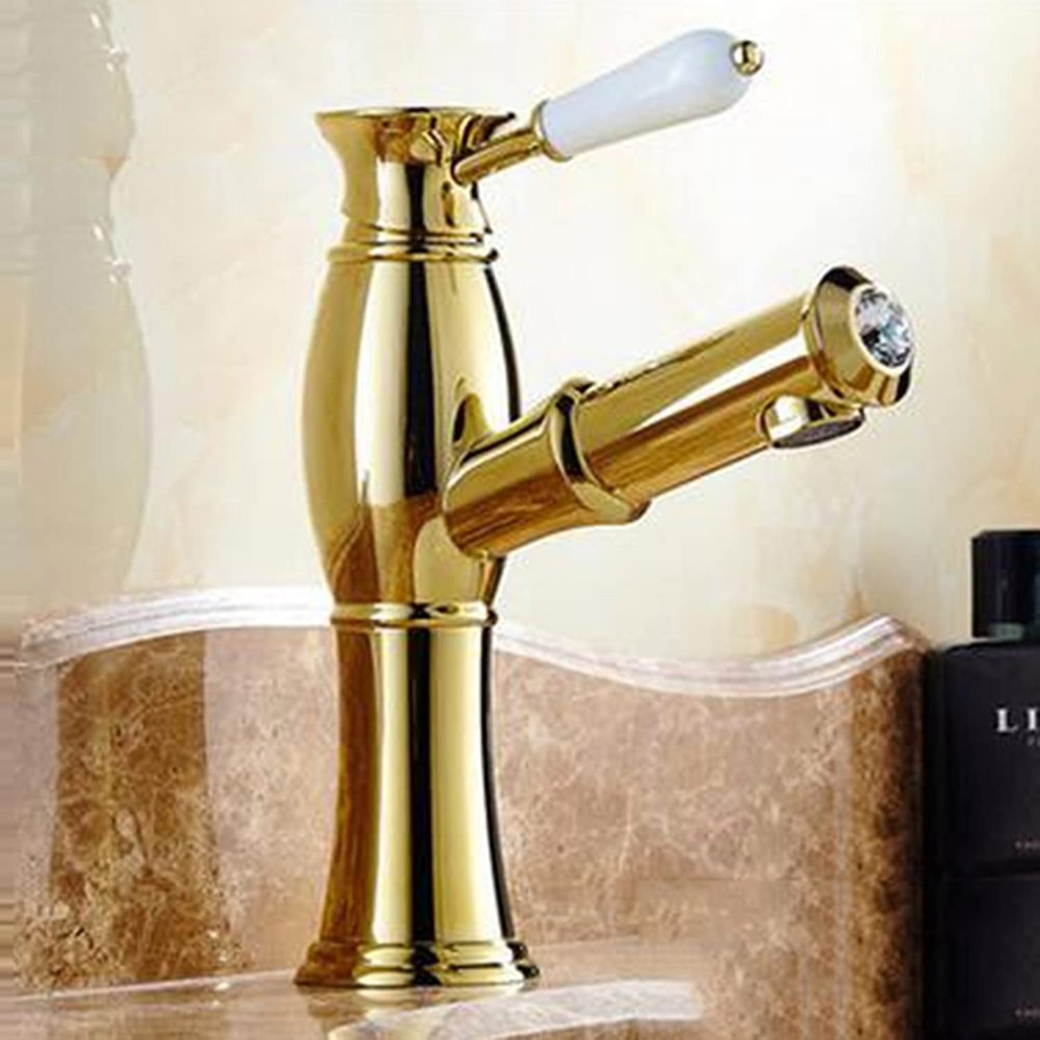 Basin Tap Antique Pull-out Faucet Brass Basin Faucet Retro European Basin Telescopic redating Faucet Suitable For Any Place ( color   2 , Design   A )