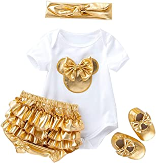 LvRao 4pcs Baby Girls' Outfits Clothing Sets Short Sleeve Romper Bodysuit Matching with Ruffle Panties Bloomers Headband S...