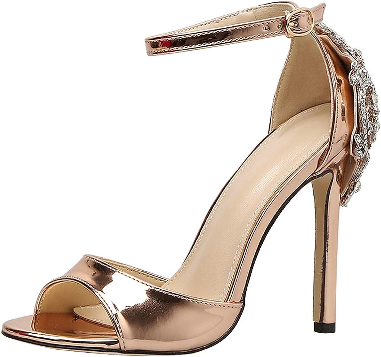Sekesin Women's Ankle Strap Open Toe Stiletto High Heels 12CM Dress Sandal Party Prom Wedding shoes