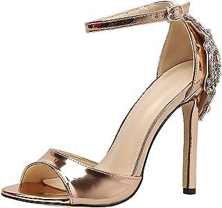 b68920b2bf2 sekesin Women s Ankle Strap Open Toe Stiletto High Heels 12CM Dress Sandal  Party Prom Wedding Shoe