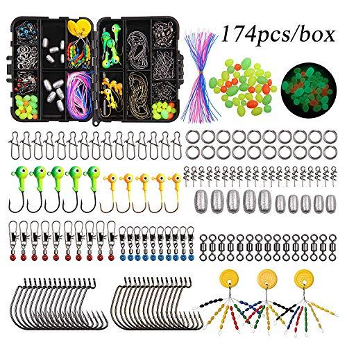 Kit di attrezzatura da pesca che include ami da pesca, pesi per piombo, girella a canna incrociata, gancio girevole, gancio per jig, perline da pesca con scatola, Kit scatola di attrezzi da 174pz