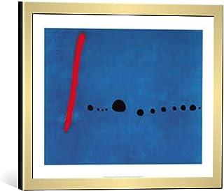 Kunst für Alle Cuadro con Marco: Joan Miró Blue II - Impresión artística Decorativa con Marco, 40x30 cm, Dorado Cepillado