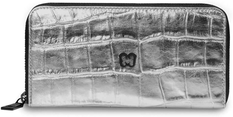Eric Javits Luxury Fashion Designer Women's Handbag  Zip Wallet  Silver