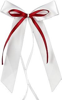 Miya@ hochwertige 30 Weiss & Weinrot Antenneschleifen aus Satin Autoschmuck Autoschleifen Deko Hochzeit Party