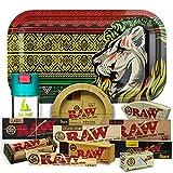 Bandeja para liar Leon 27,5cm x 17,5cm + Cenicero RAW + Bote Antiolor THE BOAT + Maquina de liar 79mm + Papel Raw 1 1/4 Organic, Black y Classic + Tips Maestro, Orgánico y Classic.