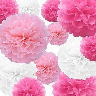 Tissue Paper Pompoms Paper Flower 22 Pcs Pink,Rose Red,White Paper Flower Ball for Birthday Bachelorette Wedding Baby Show...