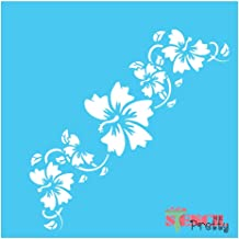 Standard Brilliant Blue Color Material Border Flower Stencil - DIY Vintage Furniture Chic Flourishes French Craft-XS (3