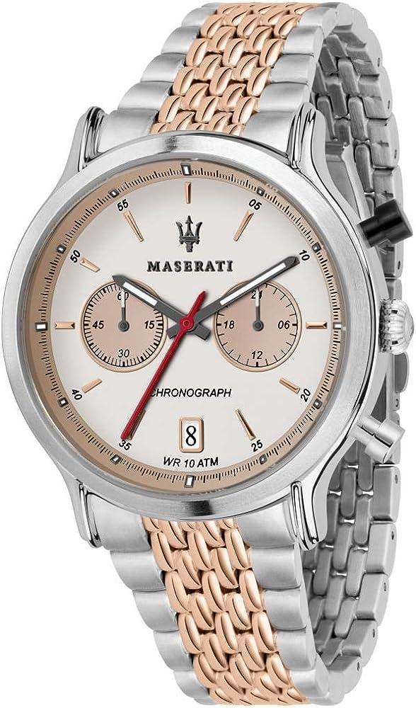 Maserati orologio cronografo da uomo, collezione legend,  in acciaio e pvd oro rosa 8033288861010