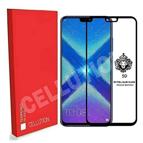 Cellution Full Glue Coverage 5D Edge-to-Edge Tempered Glass Screen Protector for Huawei Honor 8X (2018) - Black