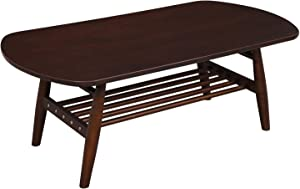 VASAGLE Modern Coffee Table with Solid Rubberwood Legs, Mid-century Style Cocktail Table with Storage Shelf, Easy Assembly, for Living Room Office Reception, Wood Grain Espresso ULCT03BR