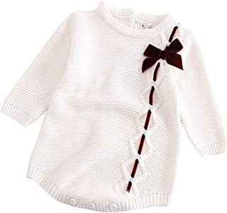 00378c593ef3 ALLAIBB Newborn Baby Girl Sweater Romper Lace Bowknot Jumpsuit Warm Outfit  Clothes