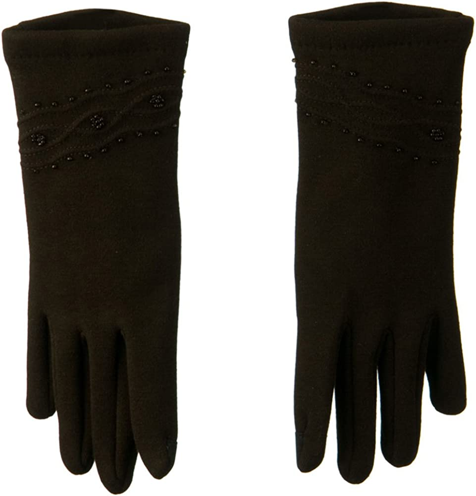 Bead and Stitching Detail Glove - Brown W21S32B