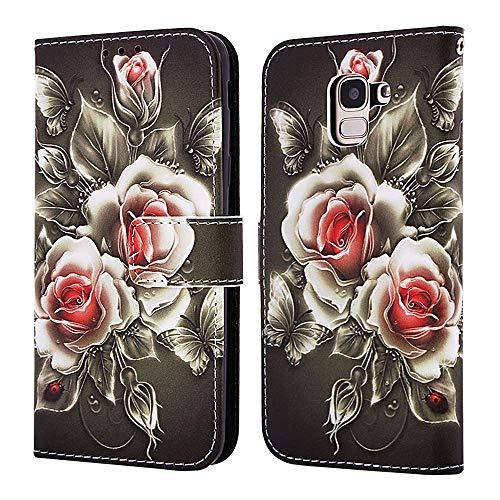 Nadoli Coque Cuir pour Galaxy J6 2018,Coloré Rose Fleur Housse en Dragonne Stand Support Portefeuille Fermeture Magnétique Protecteur Cover Étui à Rabat pour Samsung Galaxy J6 2018