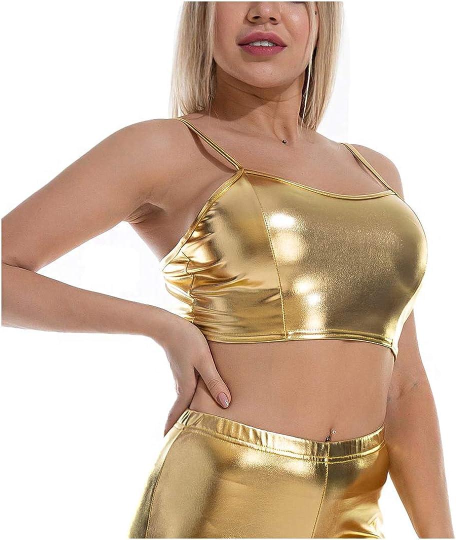 Liliam Women's Shiny Metallic Strapless Crop Tube Top Rave Club Bandeau Bra