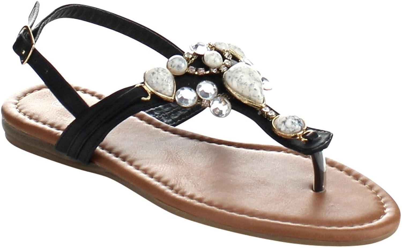 Top Moda Cb-6 Womens T-Strap Slim Strap Gemstone Buckle Flats Sandals