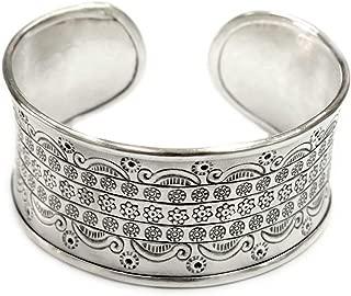 Sterling Silver Wide boho Statement Cuff Bracelet with Symbolic Ethnic Motifs Handmade Adjustable Gypsy Tribal Style