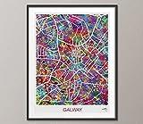 COCOMILLA Galway-Karte, Galway Aquarell-Print,