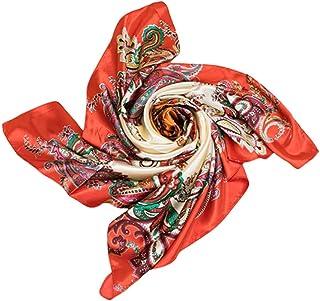 Bodhi2000 - Sciarpa quadrata in seta imitata, con fiore stampato, 90 x 90 cm