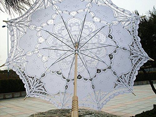icase4u® Hochzeitsschirm Deko schirm Sonnenschirm Spitze Romantische Party Foto Requisiten Regenschirm Brautschirm lace Umbrella Spitzenschirm für die Hochzeit(Gesticktes Cotton) (Weiß)