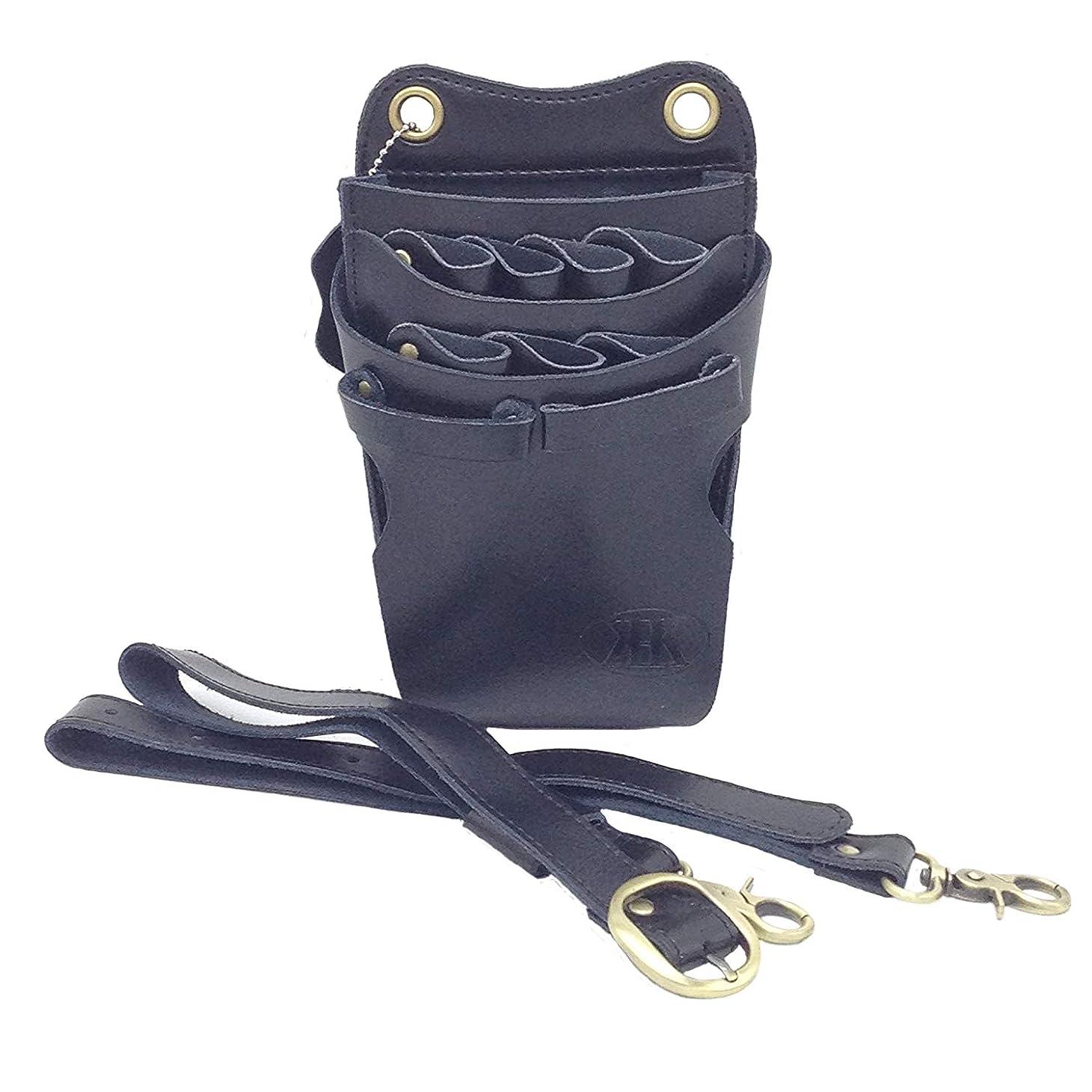 タクト意見綺麗なKK(三四郎市場) 本革 シザーケース 業務用シザーバッグ 7丁 (本革ベルト、ブラック)