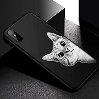 LIUCH Caja del teléfono de AppleFrosted Matte Case para iPhone X 10 Cats Pandas Animal Phone Protector Shell para iPhone X Cases-PC + TPU-Curious Cat