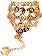 Ewandastore Belly Dance Gold Triangle Bracelet Gypsy Jewelry Coin Bracelet Hand Decoration Wrist Bangle Ring,Halloween Costume Accessory(Gold)