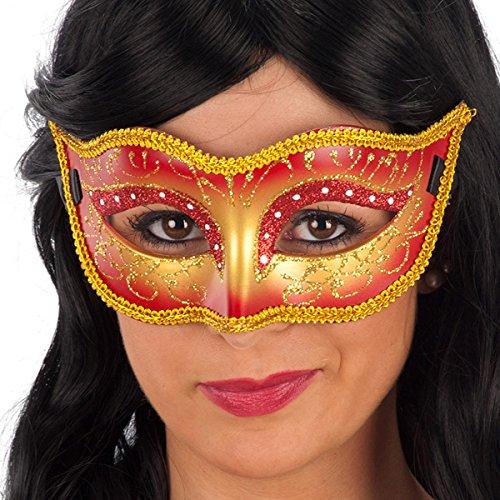 Masque de bal Loup - Deguisement - Plastique - Strass - Rouge Or - 852