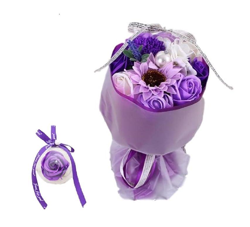 車両プラグ死Esta Rosy ソープ フラワー ブーケ 花束 造花 シャボン 香り バッグ バラ 11 花 葉 (パープル)
