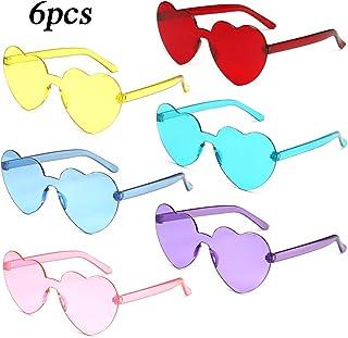 MEJOSER 6 Pack Partybrille Neon Farben Herzform Brille Gläser Sonnenbrille für Hochzeit Junggesellinnenabschied Foto Requisiten Kostüm Party Club Tanz Props