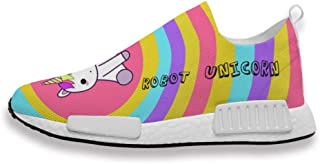 Mens Womans Trainers Robot Unicorn Rainbow Printing Athletic Running Shoes Mesh Breathable for Gym Sport Walking Jogging