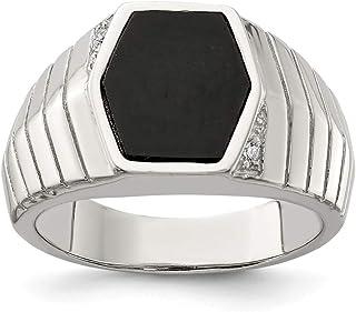 FB Jewels الصلبة الاسترليني الفضة للرجال تشيكوسلوفاكيا مكعب زركونيا والعقيق الدائري
