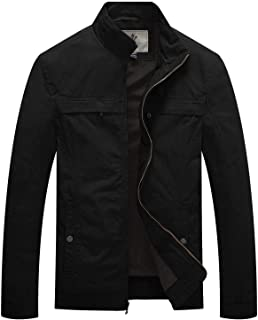 WenVen Men's Stand Collar Lightweight Military Jacket