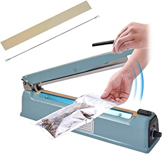 Goplus 8 inch Impulse Manual Bag Sealer, Hand Sealer Heat Sealing Machine, Poly Plastic Bag Heat Seal Closer, 2X Teflon