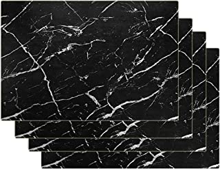Marble Placemats for Dining Table Waterproof Set of 4 Faux Laether Marble Decor for Kitchen Table Easy to Clean Anti-Skid ...