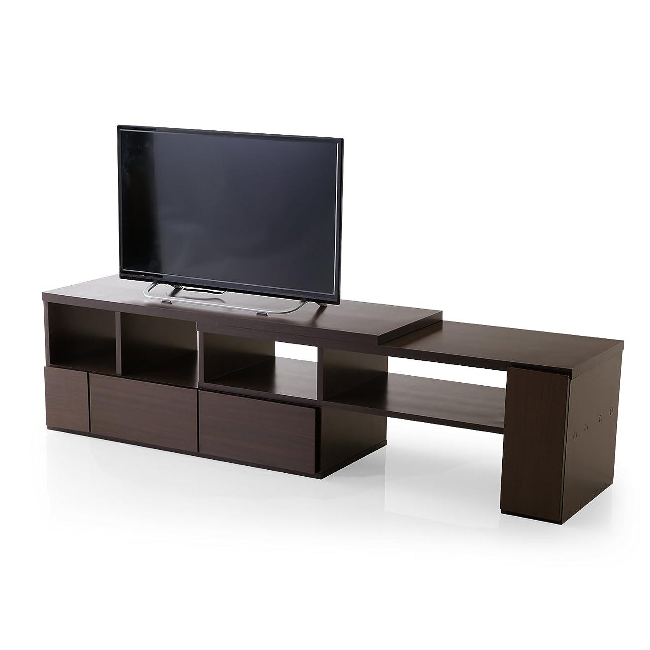 細部独裁グレーLOWYA TVボード テレビ台 テレビボード 伸縮 50型 幅109.5~198cm ブラウン