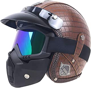 Casco moto mezzo volto uomo Retro Harley Casco moto anti-shock con visiera marrone Accessorio motocross