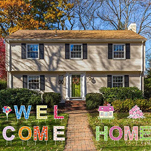 2021 Welcome Home Big Size Yard Signs with Fiberglass, Family Themed Family Friendly Yard Decoration Signs Support Write Custom Message & Easy Installation for Courtyard Party Decorations - Set of 14