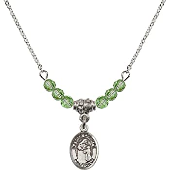 18-Inch Rhodium Plated Necklace with 4mm Peridot Birthstone Beads and Sterling Silver Saint Rachel Charm.