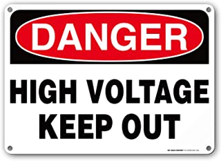 Danger High Voltage Keep Out Rectangular Electrical Sign by My Sign Center - Rust Free, UV Coated and Weatherproof .040 Aluminum - Rounded Corners and Pre-Drilled Holes - 10