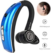 Bluetooth Headset Voice Answering with Noise Cancelling Bluetooth Earbuds Compatible with Smart Phones LG Stylo 4 Samsung S9 Plus S8 S7 Edge Note 8 iPhone X 8 7 Plus 6s Plus 5S Motorola Huawei (Blue)
