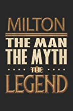 Milton The Man The Myth The Legend: Milton Notebook Journal 6x9 Personalized Customized Gift For Someones Surname Or First Name is Milton